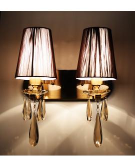 LAMPA ŚCIENNA KINKIET KRYSZTAŁOWY MOSIĘŻNY ALESSIA W2